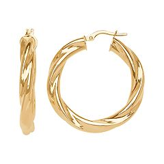 Everlasting Gold 14k Gold Twisted Hoop Earrings