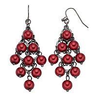 Red Simulated Pearl Nickel Free Kite Earrings