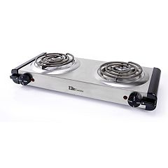 Elite Cuisine Stainless Steel Electric Double Coil Burner Hot Plate