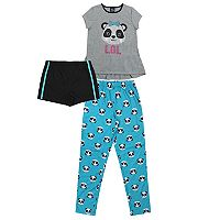 Girls 4-16 Jellifish Top, Shorts & Bottoms Pajama Set