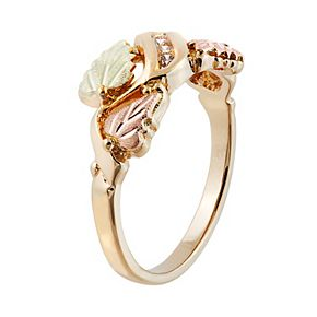 Black Hills Gold Tri Tone Diamond Accent Leaf Ring