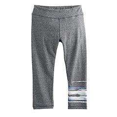 Girls 7-16 SO® Watercolor Gray Yoga Capri Leggings