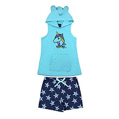 Girls 4-16 Jellifish '100% Magic' Unicorn Hoodie & Shorts Pajama Set