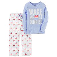 Toddler Girl Carter's 2 pc Printed Top & Fleece Pants Pajama Set