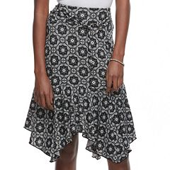 Juniors' Joe B Print Handkerchief Hem Midi Skirt