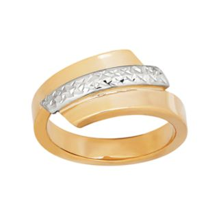 Everlasting Gold 10k Gold Two Tone Textured Bypass Ring