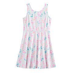 Girls 7-16 SO® V-Back Patterned Skater Dress