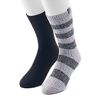 Men's Avalanche 2-pack Marled Solid and Rugby-Striped Casual Crew Socks