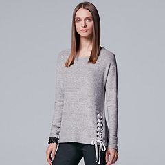 Women's Simply Vera Vera Wang Lace-Up Crewneck Top