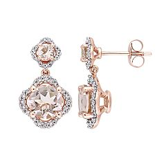14k Rose Gold Morganite & 3/8 Carat T.W. Diamond Drop Earrings