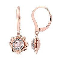 10k Rose Gold Morganite & 1/6 Carat T.W. Diamond Flower Drop Earrings