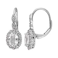 14k White Gold White Topaz & Diamond Accent Oval Halo Drop Earrings