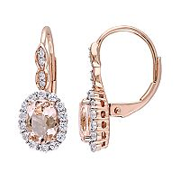 14k Rose Gold Morganite, White Topaz & Diamond Accent Halo Drop Earrings