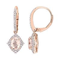 10k Rose Gold Morganite, White Sapphire & 1/5 Carat T.W. Diamond Drop Earrings