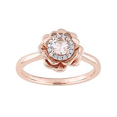 10k Rose Gold Morganite & 1/10 Carat T.W. Diamond Flower Ring
