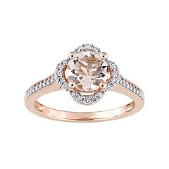 14k Rose Gold Morganite & 1/4 Carat T.W. Diamond Ring