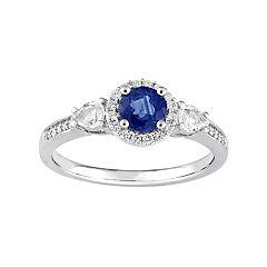 Stella Grace 14k White Gold Blue & White Sapphire & 1/8 Carat T.W. Diamond Halo Ring