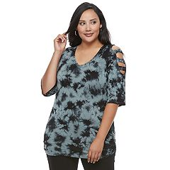 Plus Size Rock & Republic® Embellished Cold-Shoulder Cutout Tee