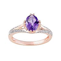 14k Rose Gold Amethyst & 1/5 Carat T.W. Diamond Ring
