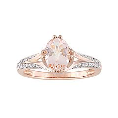 14k Rose Gold Morganite & 1/5 Carat T.W. Diamond Ring
