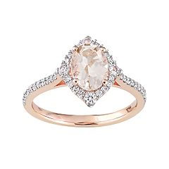 10k Rose Gold Morganite, White Sapphire & 1/4 Carat T.W. Diamond Ring