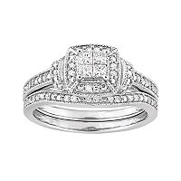 10k White Gold 1/3 Carat T.W. Diamond Engagement Ring Set