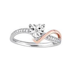 Stella Grace Two Tone 10k White Gold 1/10 Carat T.W. Diamond Heart Ring