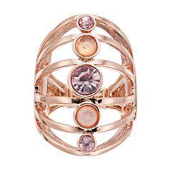 Jennifer Lopez Rose Gold Tone Multi Row Stretch Ring