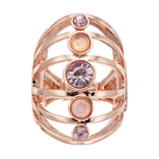 Jennifer Lopez Rose Gold Tone Multi Row Stretch Ring