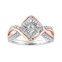 Two Tone 10k White Gold 1/4 Carat T.W. Diamond Geometric Halo Ring