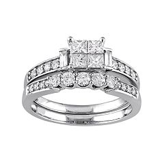 10k White Gold 1 Carat T.W. Diamond Engagement Ring Set
