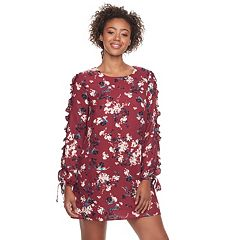 Juniors' Lily Rose Ruffle Sleeve Shift Dress