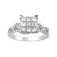Stella Grace 10k White Gold 1 Carat T.W. Diamond Square Ring