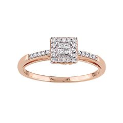 10k Rose Gold 1/5 Carat T.W. Diamond Square Halo Engagement Ring