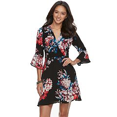 Juniors' Lily Rose Floral Faux-Wrap Dress