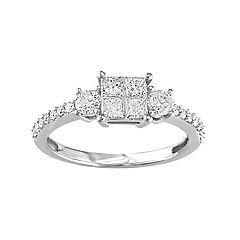 Stella Grace 14k White Gold 3/4 Carat T.W. Diamond Square 3-Stone Ring