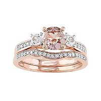 10k Rose Gold Morganite, Lab-Created White Sapphire & 1/8 Carat T.W. Diamond Engagement Ring Set