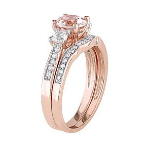 Stella Grace 10k Rose Gold Morganite, Lab-Created White Sapphire & 1/8 Carat T.W. Diamond Engagement Ring Set