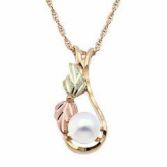 Black Hills Gold Tri Tone Freshwater Cultured Pearl Leaf Teardrop Pendant