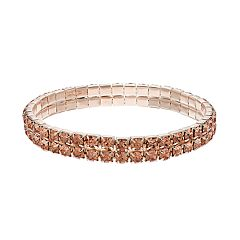 Peach Simulated Crystal Double Row Stretch Bracelet