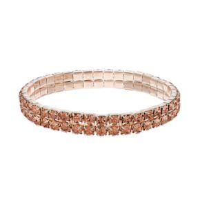 Peach Simulated Crystal Double Row Stretch Bracelet