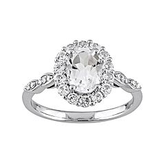 Stella Grace 14k White Gold White Topaz & Diamond Accent Oval Halo Ring