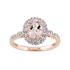 14k Rose Gold Morganite, White Topaz & Diamond Accent Oval Halo Ring