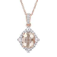 Stella Grace 10k Rose Gold Morganite, White Sapphire & 1/10 Carat T.W. Diamond Pendant