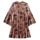 Girls 7-16 My Michelle Rose Pattern Velvet Bell Sleeve Dress