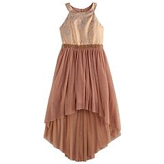 Girls 7-16 My Michelle Halter Bodice High-Low Dress