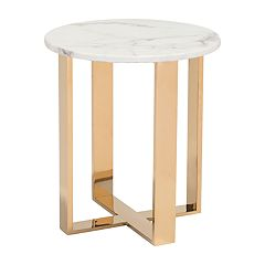 Zuo Modern Atlas Round Faux Marble End Table