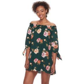 Juniors' Lily Rose Floral Off the Shoulder Shift Dress