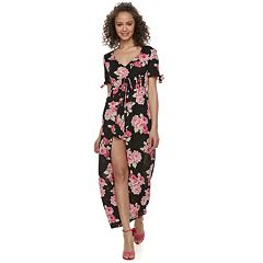 Juniors' Lily Rose Floral Walk-Through Maxi Dress