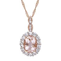 14k Rose Gold Morganite, White Topaz & Diamond Accent Halo Pendant